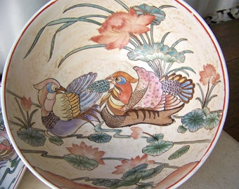 Vintage Porcelain Bowl and Tray Hand Painted Sculptured Scene Birds of Paradise Decorative Only 1960s-1970s