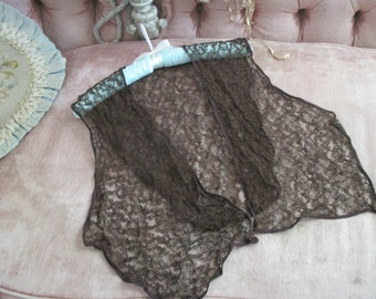 Antique Alencon Pusher Lace Black Shawl H123