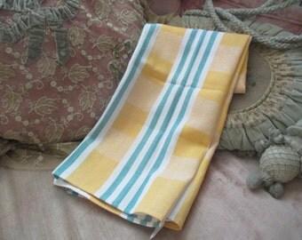 Vintage Kitchen hand Towel Large cotton Canvas Style Yellow Green White Stripe X16