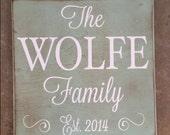 Square custom wood sign decorative wedding gift family name sign