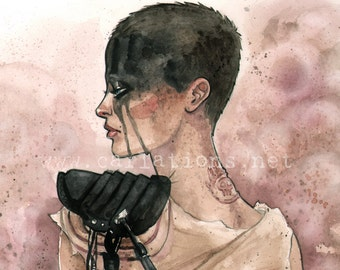 Mad Max Post Apocalyptic Furiosa inspired watercolor Art Print Carla Wyzgala carlations
