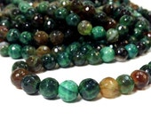 8 mm. Emerald Green Fire Agate Faceted Round Beads 15.5 inch strand (G3415R18-BH)
