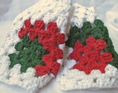 Crochet Christmss Dishcloths - 3 Cloths in Red, Green & White