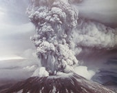 "Vintage Robert Krimmel USGS original photograph of Mount St. Helens Erupting 1980 on Kodak Paper 19 3/4"" x 13 3/4"""