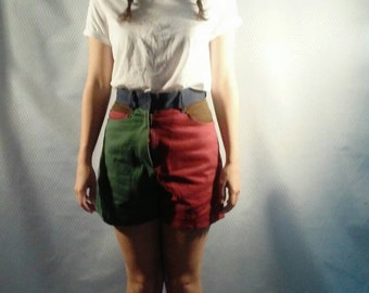 "70s Colorblock Denim Shorts  26"" high waist Maroon + Green  Small"