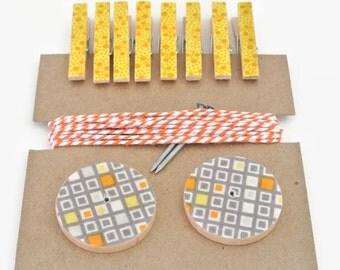 Art Hanging Kit ~ Art Display Kit ~ Mini Clothespins ~ Ribbon ~ Gray, Yellow and Orange