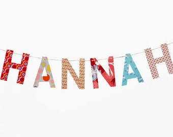 Custom Name Banner ~ Fabric Banner ~ Happy Birthday Banner ~  Photo prop ~ HANNAH Collection