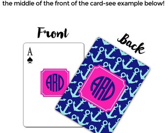 Monogram Personalized Playing Cards-Nautical Anchors