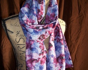 Women's Scarf in Lovely Shades of Blues and Purples, also for Ladies and Teens