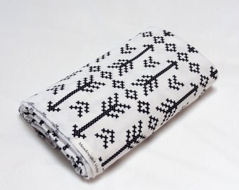 Large Cotton Jersey Knit Baby Swaddle/Receiving Blanket - Girl or Boy - Black Stitched Arrows on White