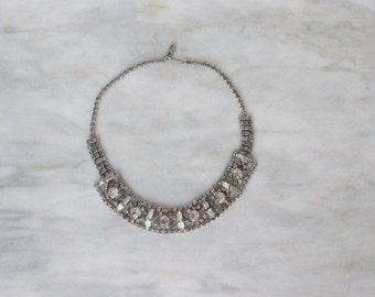 Vintage Jewelry Rhinestone Bib Collar Necklace Jewelry 50s