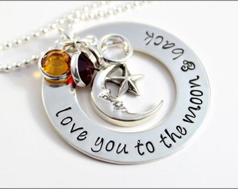 Love You to the Moon & Back Washer Necklace in Sterling Silver | Personalized with Round Birthstones | Hand Stamped Mom Jewelry