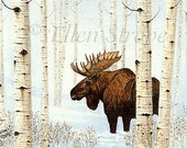 CARD, moose, aspen trees, bull moose, winter, snow, note cards, blank note cards, Ellen Strope. moose decor, cabin decor, lodge decor