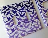 Purple Birds Light Switch Plate Cover / Purple Ombre Vintage Birds Double Light Switch Plate Cover / Lavender Nursery Decor / Purple Decor