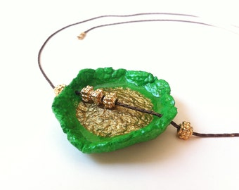 Artisan evergreen jewelry, Unique luminous green and gold necklace