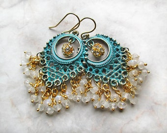 Patina Chandelier Earrings, Boho Earrings, Bohemian Dangles, Boho Jewlery