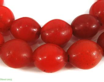 Hummingbird Egg Trade Beads Red African 94235
