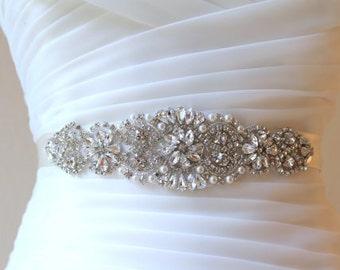 Silver Bridal Crystal Sash.  Rhinestone Pearl Applique Wedding Belt. Gold, Rose gold Bridal Sash. VINTAGE MODE