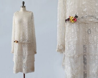 1920s Dress /  20s LACE Wedding Dress