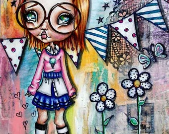 "Big Eye Art ""Annie"" Giclee Print Signed Reproduction by Lizzy Love [IMG#148]"