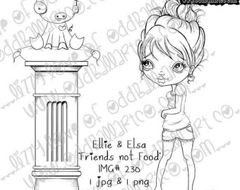 Instant Download Kawaii Vegan Stamp Set ~ Ellie & Elsa in Friends Not Food Image No. 230 by Lizzy Love