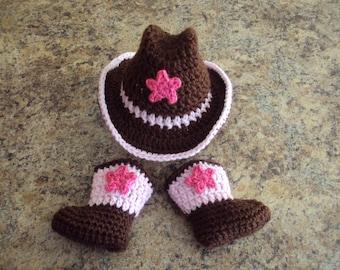 Hand Crochet Baby Girl Cowboy Hat, Boot Set ~ Pink & Brown