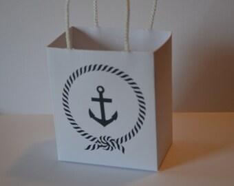 Nautical Party favor bags blue anchor