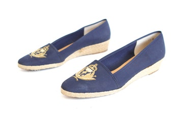 GOLD CREST navy wedge vintage women's size 11 oxford boating nautical summer flats
