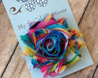 Petite Shabby Chic Flower Hair Clip-Itty Bitty Baby Snap Clip-Infant-Toddler-Fine Hair-No Slip