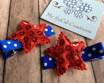 Patriotic Sequin Star Hair Clip Set-No Slip hair Clips-Independence Day-4th of July-Red White & Blue