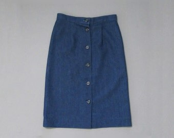 Vintage 1970s Indigo Stretch Denim Skirt. Seventies High Waist Denim Skirt. Size XS Small.