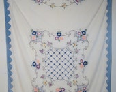 1930's  Bedspread , Floral Embroidered Muslin Twin Bedspread with Blue Appliqué Cotton Border