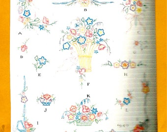 1935 McCall's Transfer Pattern No. 1940 : Floral Embroidery Motifs
