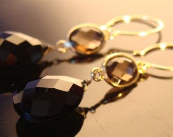 Black Onyx Smoky Quartz 14K Gold Filled Earrings