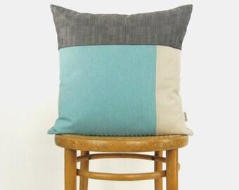 Colorblock outdoor pillow case | Modern patio garden decor | Aqua blue, beige and grey 18x18 cushion cover | Accent throw decorative pillow