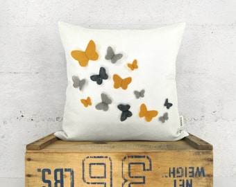 Personalized Butterfly Pillow Cover in 18x18 or 20x20 inches | Growing Butterflies Accent Pillow Case | Custom Felt Color & Fabric