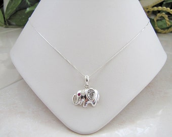 Sterling Silver Elephant CZ Pendant Necklace, 20 inches long Minimalist