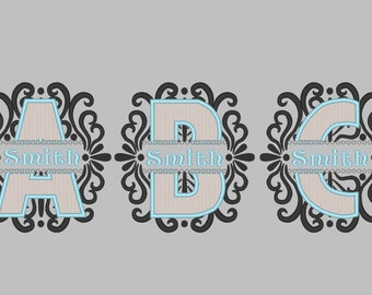 Discount - 40% Ornamental swirl and curl Split Monogram whole set and mini font - machine embroidery monogram designs 4x4 and 5x7, 6x10