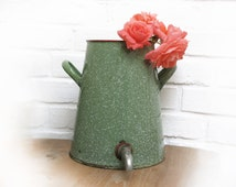 French Enamel Fountain ,1930 Enamelware green Lavabo ,white and  green sponge Water Container