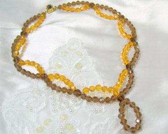 Vintage Art Deco Glass Bead Necklace Brown Golden Amber Scallop Design