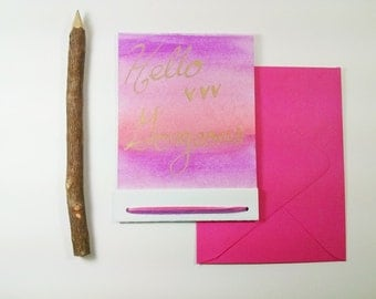 Hello Gorgeous Greeting Card - Hand Painted - Pink and Purple - Friendship Card - Card for Her - Card for Friend - Ombre - Hand Lettered -