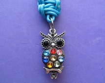 Owl Key Ring -- double sided rhinestone owl charm on key fob made with double strands of turquoise color Type 1 paracord.