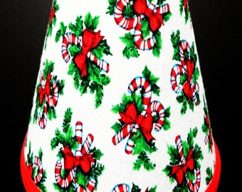 Xmas Christmas Candy Cane Holly Chandelier Lampshade Battery Operated Electric Candle Lamp Shade