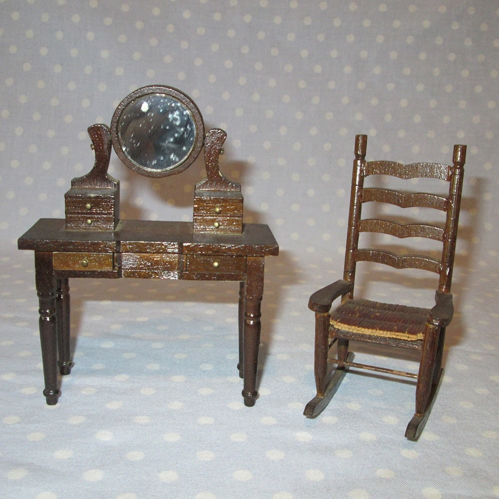 2 pcs vintage doll house furniture miniature stained wood bedroom vanity dresser mirror drawers - Bedroom vanity chair with back ...