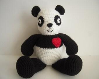 Crocheted Stuffed Amigurumi Panda Bear with Heart
