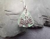Scottish Terrier Necklace, Scottie Dog Charm, Scotty Jewelry, Aqua Sea Glass from Scotland, Seafoam Scottish Beach Glass