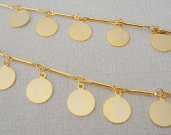 Gold Plated Disc charm brass Loose Chain, Necklace Findings, brass long chain, U58153