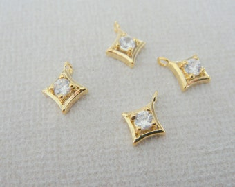 Gold Rhombus charm with cubic zirconia, small dangle connectors, Bead findings, Crystal Stone Bead, 2 pc, PE62684
