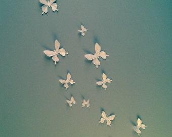 3D Wall Butterflies - White butterflies decal, wall decoration