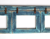 Barnwood Collage Turquoise Frame 3) 5x7 Multi Opening Frame-Rustic Picture Frame-Reclaimed-Cottage Chic-Collage Frame-Collage Frame-Shabby